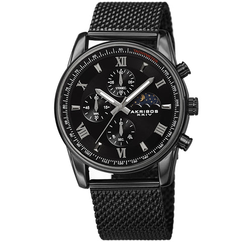 Akribos XXIV AKS191112BK Men's Quartz Chronograph Mesh Bracelet Watch