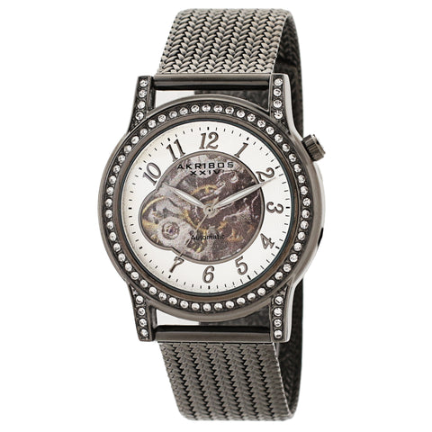 Akribos XXIV AKS191117GN Women's Skeleton Automatic Crystal Textured Mesh Bracelet Watch
