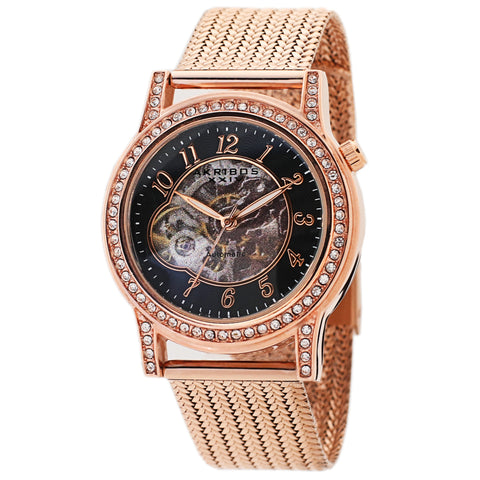 Akribos XXIV AKS191117RG Women's Skeleton Automatic Crystal Textured Mesh Bracelet Watch