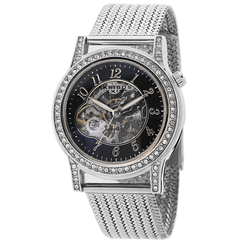 Akribos XXIV AKS191117SSB Women's Skeleton Automatic Crystal Textured Mesh Bracelet Watch