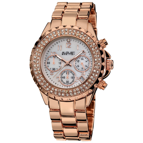 August Steiner AS8031RG Crystal Chronograph Two-tone Bracelet Watch