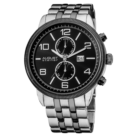 August Steiner Men's AS8069 Swiss Quartz Coin Edge Bezel Stainless Steel Bracelet Watch  AS8069BK
