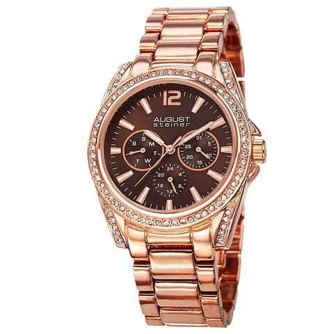 August Steiner AS8075RG Crystal Multifunction Bracelet Watch