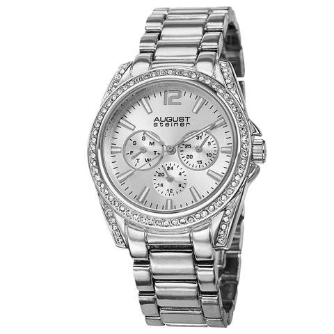 August Steiner AS8075SS Crystal Multifunction Bracelet Watch
