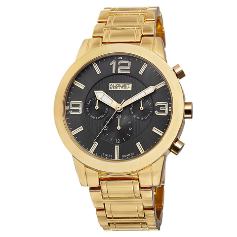 August Steiner Men's AS8106 Swiss Quartz Multifunction Day/Date Bracelet Watch AS8106YG
