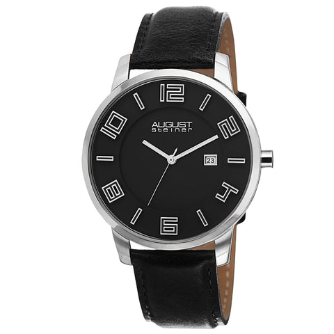 August Steiner AS8108BKS Swiss Quartz Ultra-Thin Date Black Leather