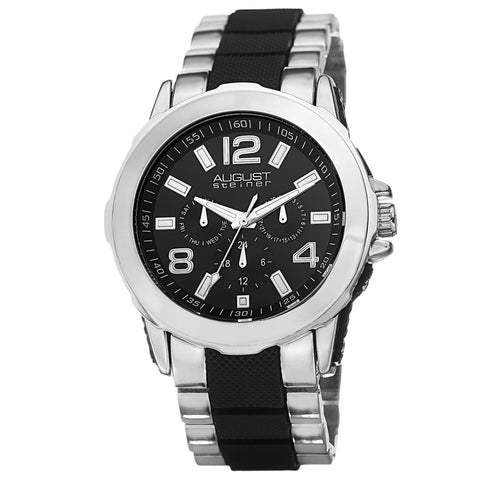 August Steiner Men's AS8114 Day Date GMT Dial Inner Links Bracelet Watch AS8114TTB