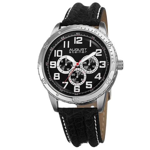 August Steiner AS8116SSB Day Date GMT 30M WR Black Dial Leather Strap