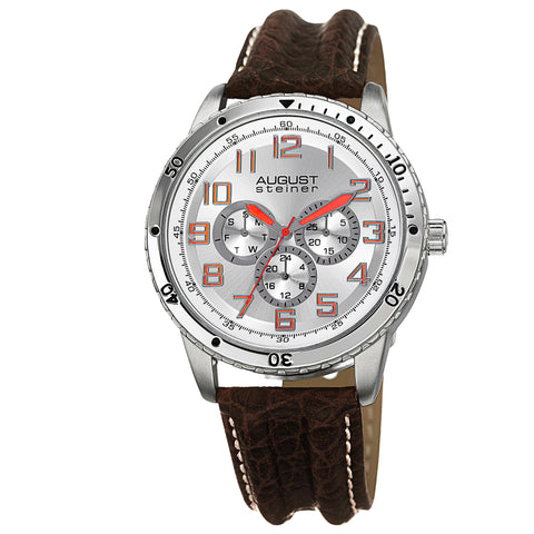 August Steiner Men's AS8116SS Multifunction Leather Strap Watch