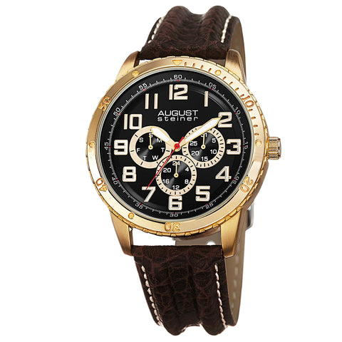 August Steiner Men's AS8116YG Multifunction Leather Strap Watch