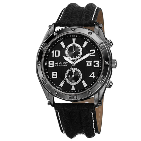 August Steiner Men's AS8117BK Swiss Quartz Multifunction with Leather Strap Watch