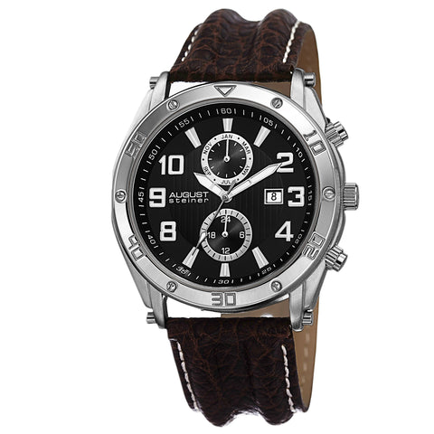 August Steiner Men's AS8117BR Swiss Quartz Multifunction with Leather Strap Watch