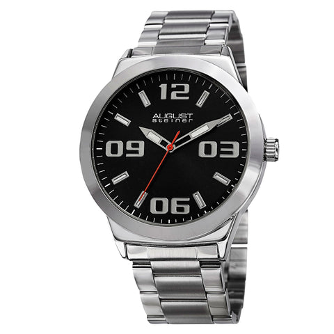 August Steiner AS8134SSB Swiss Quartz Classic Three Hand Steel Bracelet