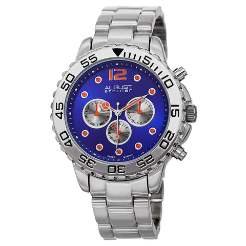 August Steiner Men's AS8158BU Silver Multifunction Swiss Quartz Watch with Colored Dial and Silver Bracelet