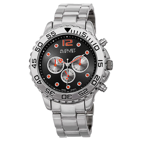 August Steiner Men's AS815SSB Silver Multifunction Swiss Quartz Watch with Colored Dial and Silver Bracelet