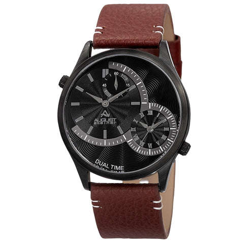 August Steiner AS8167BKBR Dual Time Stamped Dial Genuine Leather Strap