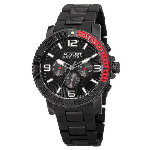 August Steiner Men's Swiss Quartz Multifunction Rotating Bezel Alloy Mid-link Black Bracelet Watch AS8179BK