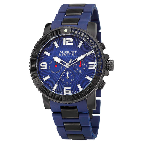 August Steiner Men's Swiss Quartz Multifunction Rotating Bezel Alloy Mid-link Blue Bracelet Watch AS8179BU