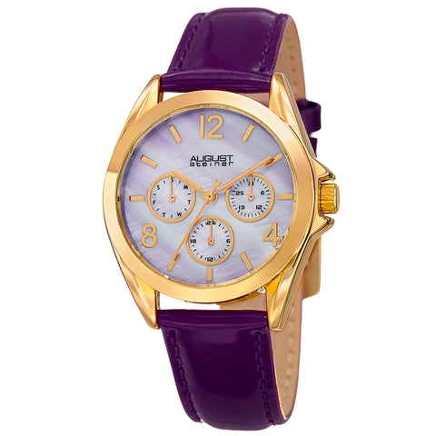 August Steiner Women's AS8191PU Multifunction Crystal Accented Quartz Watch with Mother of Pearl Dial and Leather Strap