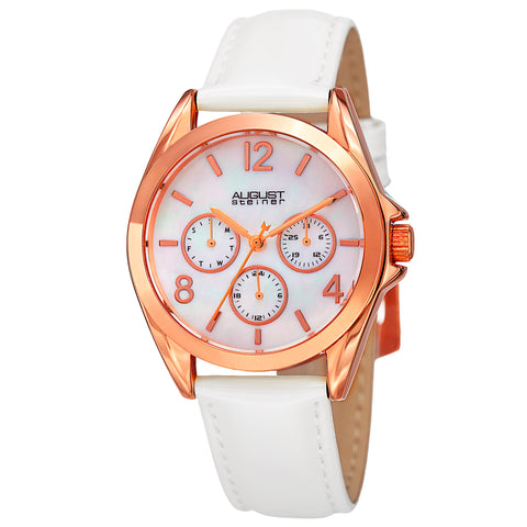 August Steiner Women's AS8191WTR Multifunction Crystal Accented Quartz Watch with Mother of Pearl Dial and Leather Strap