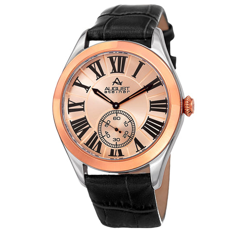 August Steiner AS8203BKR Small Seconds Quartz Genuine Leather Strap