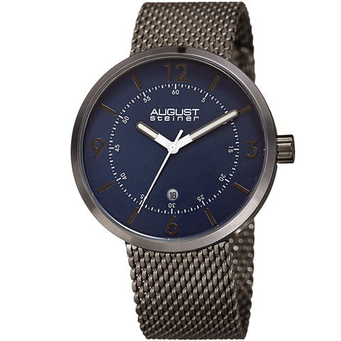 August Steiner Men's AS8204GNBU Three Hand Movement Date Steel Mesh Bracelet Watch