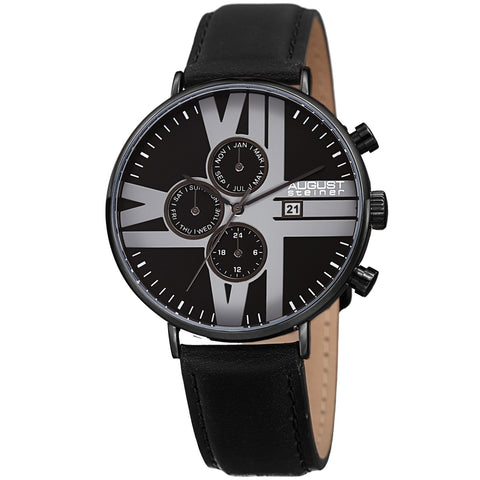 August Steiner AS8212BK 24 Hour Counter Date Genuine Leather Strap
