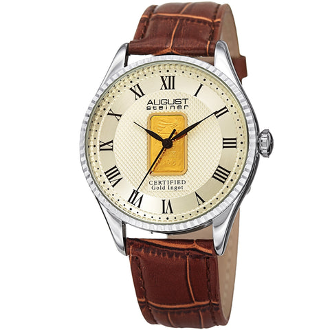August Steiner AS8217SSBR Certified 0.10G Plate Of Pure Gold Strap Watch