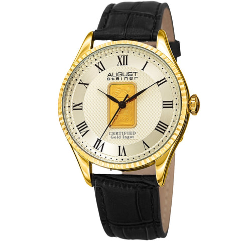 August Steiner AS8217YGB Certified 0.10G Plate Of Pure Gold Strap Watch