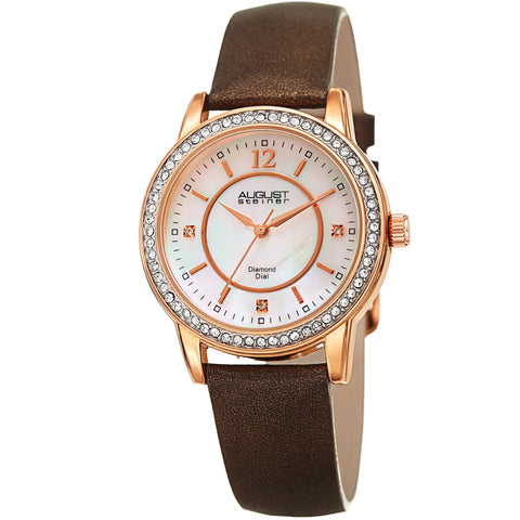 August Steiner Women's Diamond Crystal Rose-Tone/ Brown Leather Bracelet Watch AS8227BR