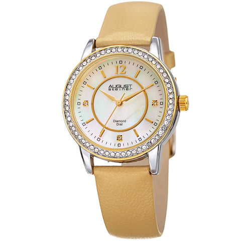 August Steiner Women's Diamond Crystal Gold-Tone Leather Bracelet Watch AS8227GLD