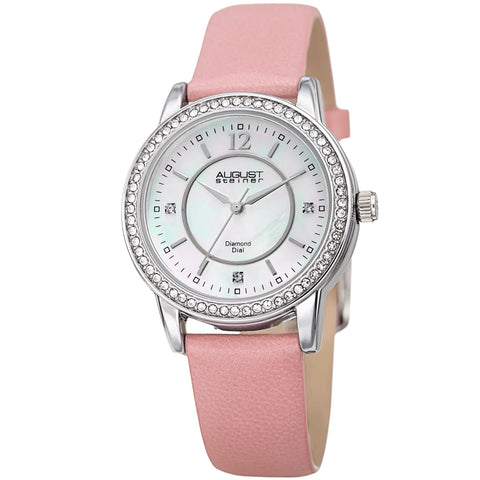 August Steiner Women's Diamond Crystal Silver-Tone/ Pink Leather Bracelet Watch AS8227PK