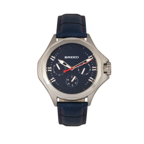 Breed Tempe Leather-Band Watch w/Day/Date - Blue/Silver