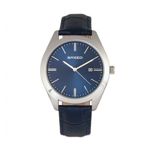 Breed Louis Leather-Band Watch w/Date - Blue