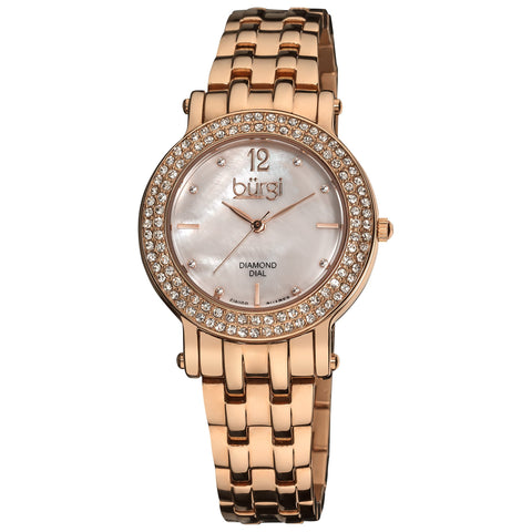 Burgi Women's Swiss Quartz Diamond Crystal Mother-of-Pearl Rose-tone Stainless Steel Bracelet Watch BUR079RG