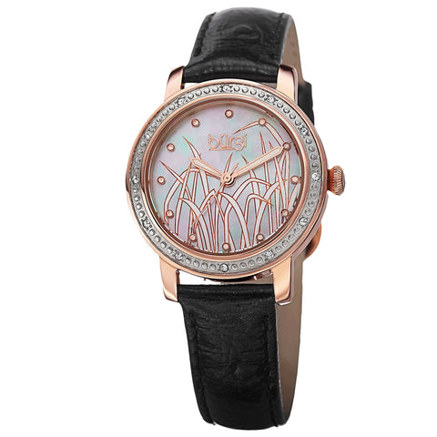 Burgi Women's Quartz Diamond Leather Rose-Tone Strap Watch BUR096RG
