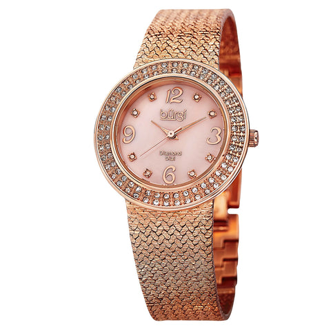 Burgi Women's Crystal Accented Rose Gold Swiss Quartz and Rose Gold Bracelet Watch  BUR097RG