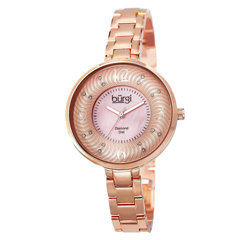 Burgi Women's Rose Gold Swiss Quartz Watch with White and Rose Mother of Pearl  BUR103RG