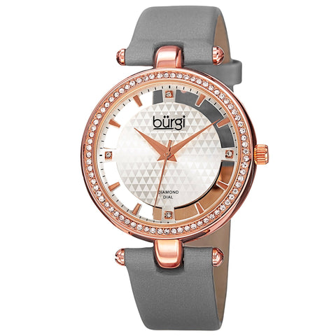 New Women's Burgi BUR104GY Rose-tone Swiss Quartz Diamond Grey Satin Strap Watch