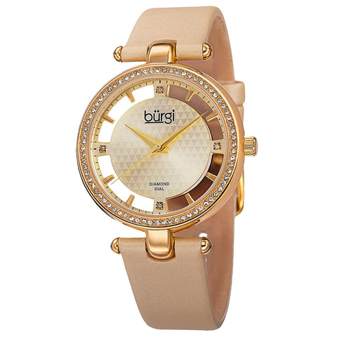 New Women's Burgi BUR104YG Swiss Quartz Diamond Gold-tone Satin Strap Watch