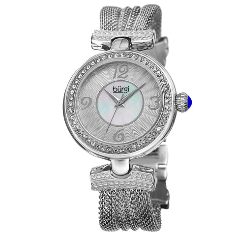 Burgi Women's Crystal Accented Swiss Quartz Watch  BUR110SS