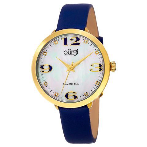 Burgi Classic Women's Quartz Diamond Markers Leather Blue Strap Watch BUR119BU