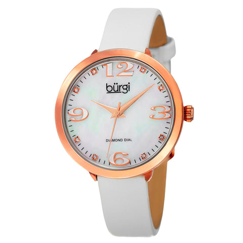 Burgi Classic Women's Quartz Diamond Markers Leather White Strap Watch BUR119WTR