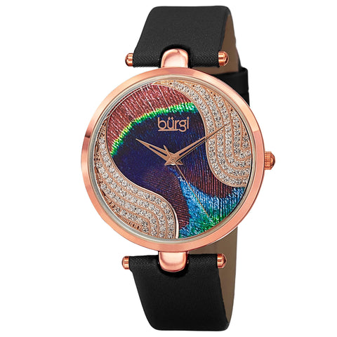 Burgi Women's BUR131 Swarovski Crystal Peacock Pattern Dial Leather Strap Watch BUR131BKR