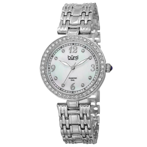 Burgi Women's Mother of Pearl Swarovski Accented Crystal Bezel Watch BUR136SS