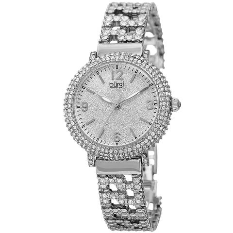 Burgi Women's  Swarovski Crystal Filled Silver Bracelet Watch BUR140SS