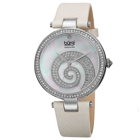 Burgi Women's Quartz Diamond Crystal Leather White Strap Watch BUR143WT