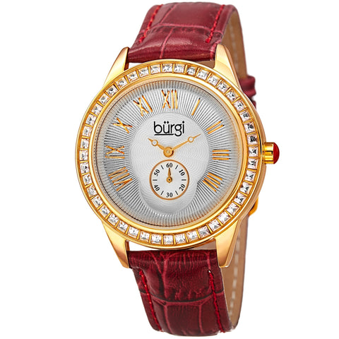 Burgi Women's Quartz Guilloche Solei Dial Geniune Burgundy Leather Strap Watch BUR144BUR