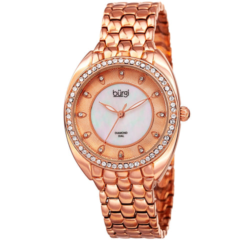 Burgi Women's Rose Quartz Watch With Swarovski Crystal and Diamond Mother of Pearl Dial With Silver Bracelet BUR145RG