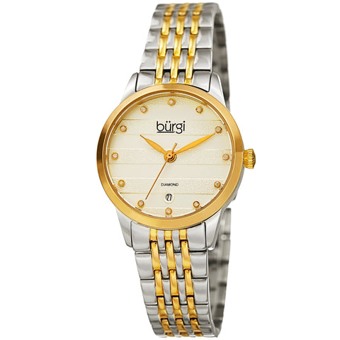 Burgi Women's Silver and Rose Gold Quartz Watch With Diamond Dial And Two Tone Bracelet BUR146TTG